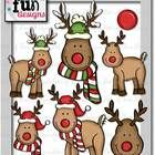 This 16- piece set contains 9 black/white images and 7 colored images. Included are outlined images of Rudolph's head, antlers, and nose for your c...Clipart