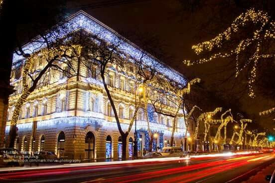 Andrássy street at Christmas, Budapest