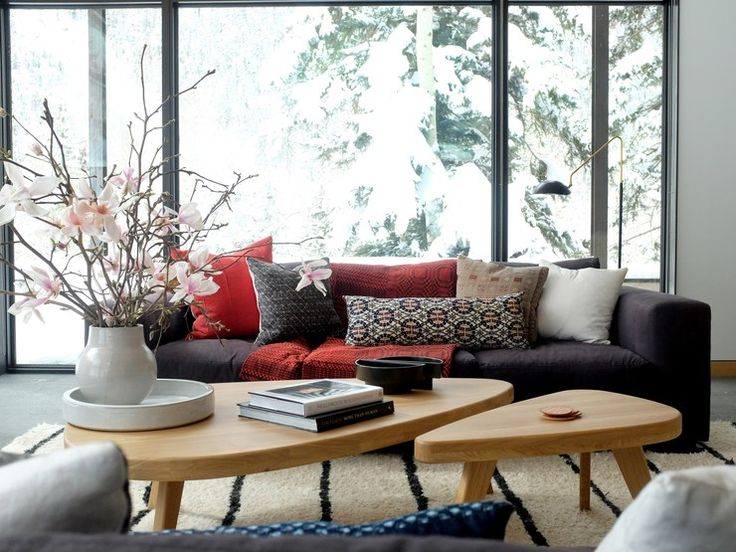 In a Telluride, Colorado, home executed by Consort Design, the living room embraces the landscape's natural elements.