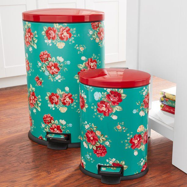 Pioneer Woman 10 5 Gal And 3 1 Gal Stainless Steel Kitchen Trash Cans With Lids Walmart Com Pioneer Woman Kitchen Decor Pioneer Woman Kitchen Pioneer Woman Kitchenware