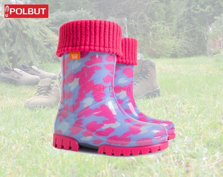 Pink and blue !, the best pattern for #girls, with soft cotton inside. Super #warm #wellington #boots - Original Brand Demar
