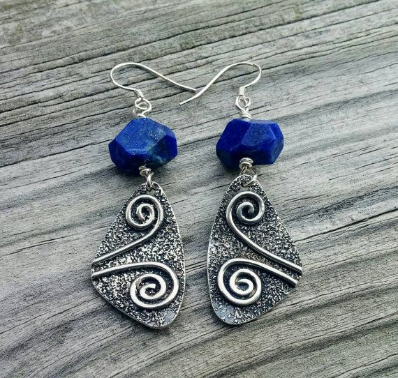 Lapis Lazuli Chunky Gemstone Spiral Dangle by LolaJewelleryDesign