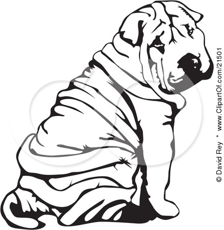 Sharpei Art on 8 dogs illustration
