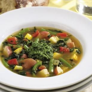 Spicy Vegetable Soup  Fresh basil adds a bright spark to this vinegary, vegetable-stuffed soup, full of the traditional flavors of the Mediterranean. Alternatively, pesto adds a nutty richness to the soup.