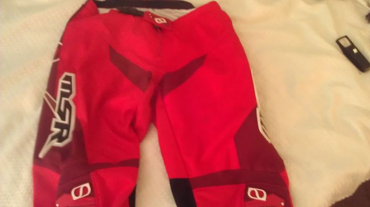 MSR  AXXIS MENS SIZE 38 RED W/WHITE MX DIRT BIKE PANTS GOOD SHAPE -LOW$ #THORMXPHASE