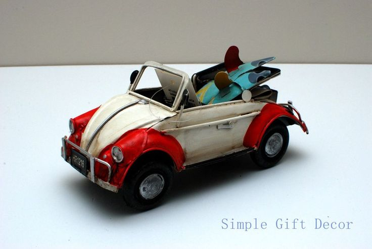 Metal Vintage Convertible Car model Red/White 1021