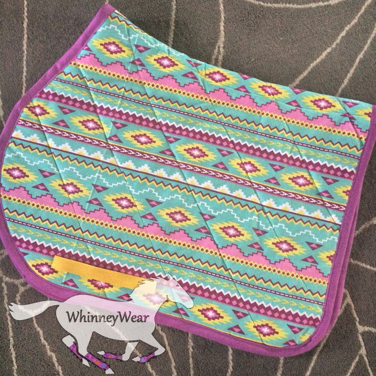 Colorful Turquoise aztec print english saddle pad by WhinneyWear. Email whinneywear@yahoo.com to order