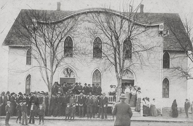 Hoffnungsau Mennonite Church, 1898 Inman, Kansas. Organized February 22, 1875 after the arrival of a group of immigrants who originally belonged to the Alexanderwohl Mennonite Church in Russia. Click to enlarge