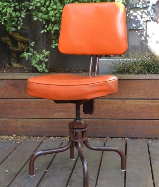 Vintage  Orange Bendix swivel office chair