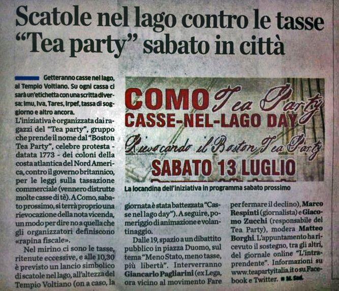 """""""Scatole nel lago contro le tasse, Tea Party sabato in città"""" - La Provincia di Como, 11 luglio 2013"""