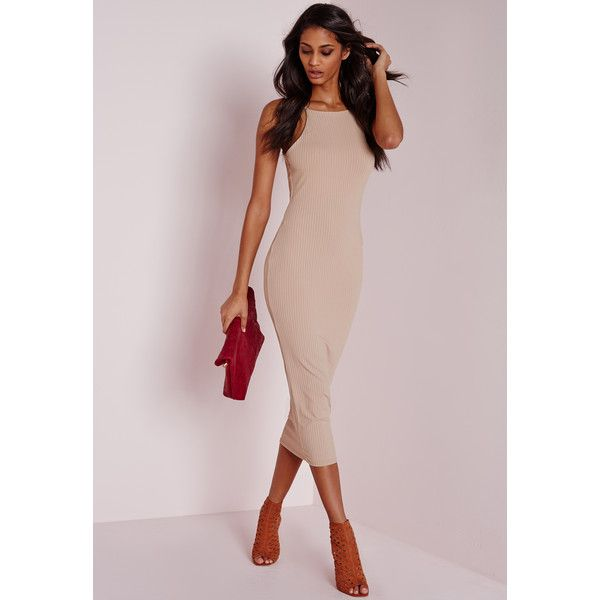 Missguided Ribbed Square Neck Midi Dress ($34) ❤ liked on Polyvore featuring dresses, camel, pink dress, night out dresses, bodycon midi dress, high neck bodycon dress and pink cocktail dress