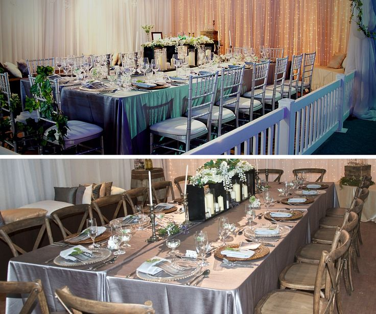 One Look 2 Ways.  Replacing our Chiavari Chairs with our Rustic Crossback Chairs Transforms this look from Elegant Prairie Vineyard to a more Natural Rustic Prairie Vineyard