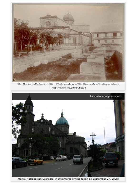 The Manila Cathedral in 1907 and in 2008.: Tanawin Wordpress Com