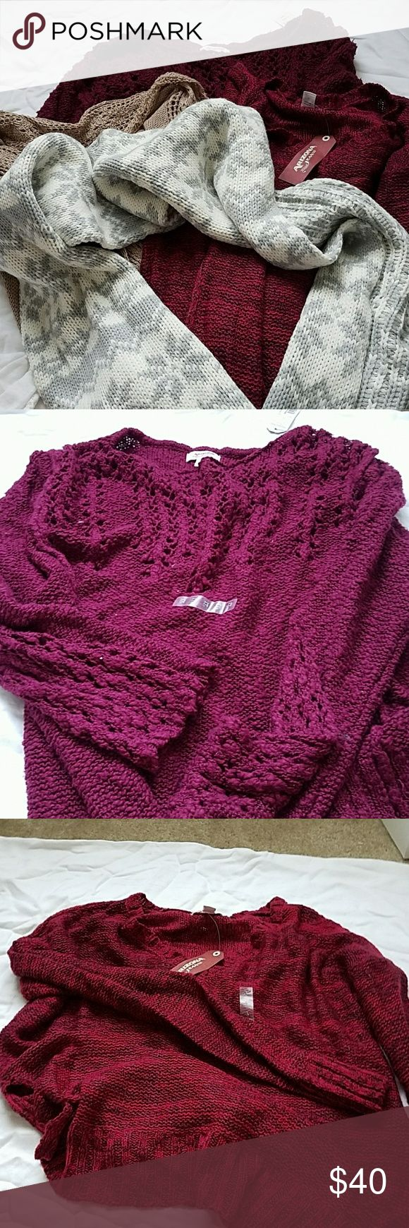 MUST GO- 4 SHIRTS, 2 SCARVES AND A BEANIE 4 shirts to fit size L. first 2 sweaters, cream scarf and beanie are NWT. you will be getting all 7 items for the price listed. please comment if you have questions. Sweaters