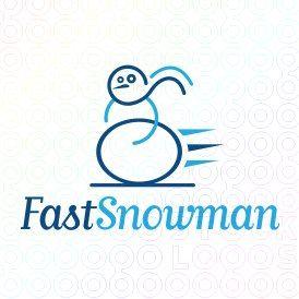 Exclusive Customizable Snowman Logo For Sale: Fast Snowman | StockLogos.com