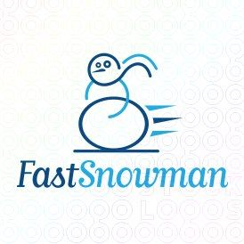 Exclusive Customizable Logo For Sale: Fast Snowman | StockLogos.com