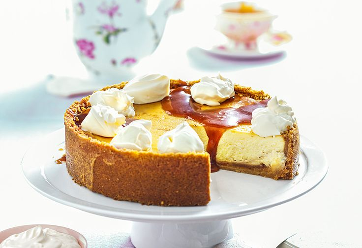With its creamy, soft caramel filling and salty biscuit base, this cheesecake is hard to go past