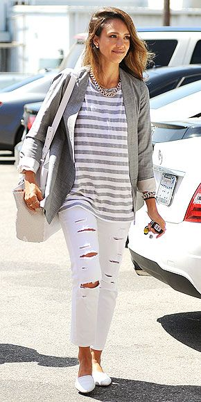 Love Her Outfit! | JESSICA ALBA | Isn't it impressive how adding a gray blazer and forgoing flipflops can make the most casual look – ripped Paige jeans and a loose striped tee – feel instantly more put-together?