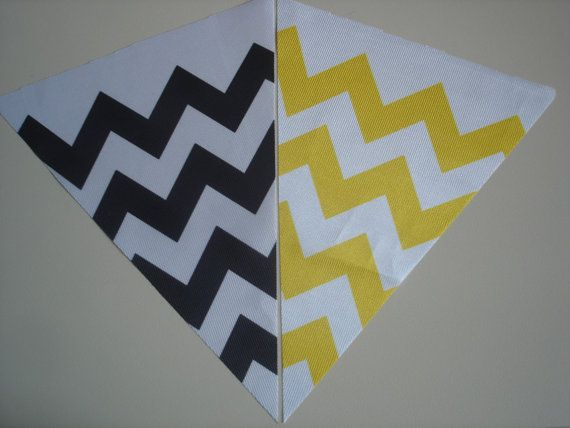 Fabric Bunting Chevron Yellow Black and Colors Combo by customflag, $19.00