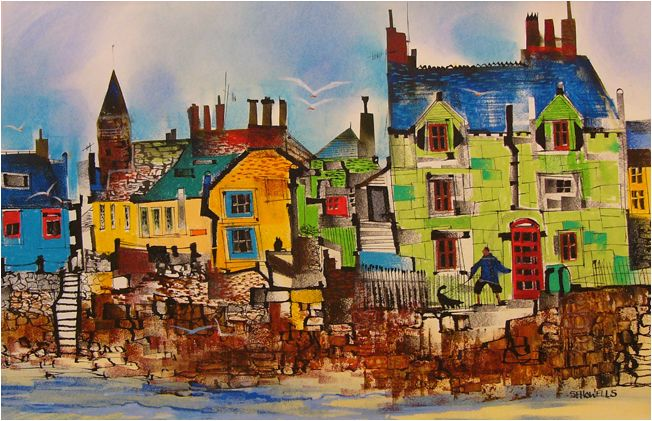 Sue Howells Walking The Dog, Beach Crescent,Broughty Ferry Signed Limited Edition Print   Contemporary Art