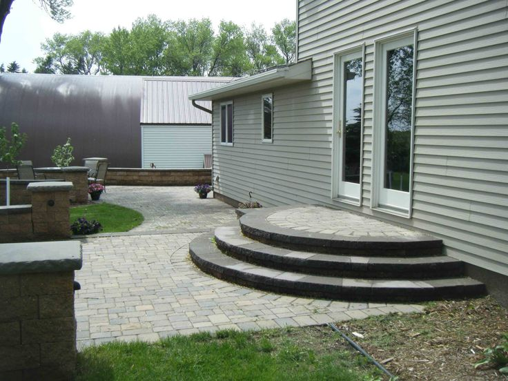 paver patio steps designs paver patio stairs with landing - Google Search | Porch