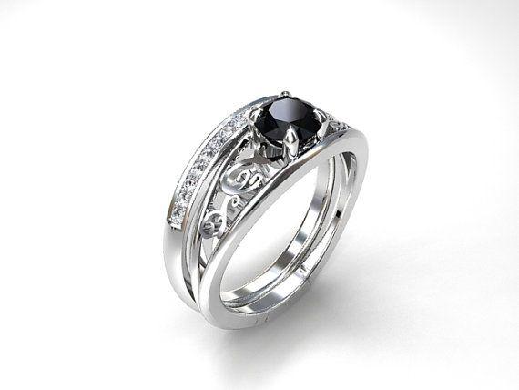 Celui Engagement Ring Set with Black Diamond