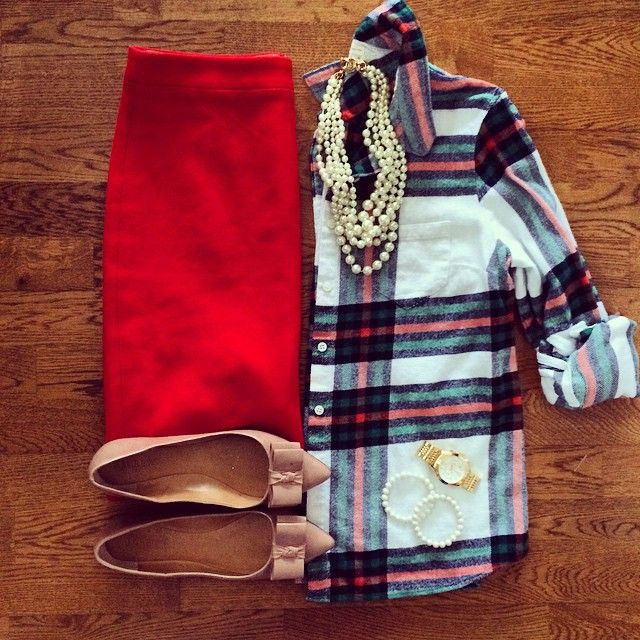 J. Crew Rock Salt Plaid Shirt, Red Pencil Skirt, Emery Bow Flats, Pearl Necklace | #officestyle #workwear #liketkit | http://www.liketk.it/RR6A | IG: @whitecoatwardrobe