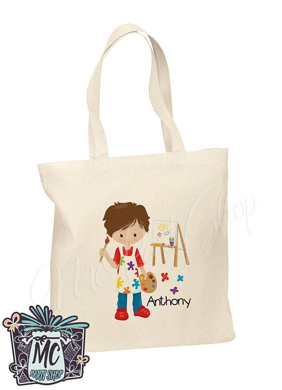 fc34d3e3f382 Personalized Cotton Tote Bag Kids Book Bag Custom Book Bag - Little artist  Girl Boy Library Bag  McPartyShop