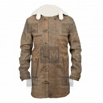 Bane Coat.  Made from cowhide distressed leather, comes with faux sheep shearling lining.