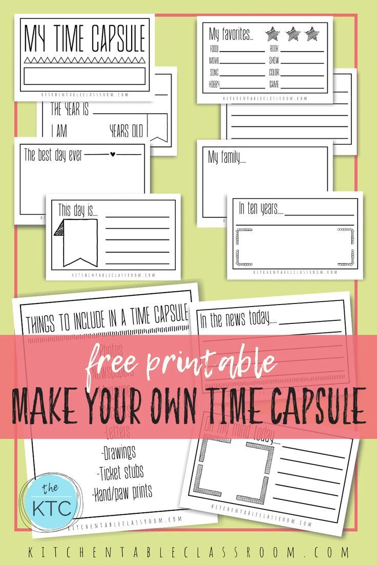 Time Capsules Ideas And Printables For Kids The Kitchen Table Classroom Time Capsule Kids Time Capsule Kids Planner