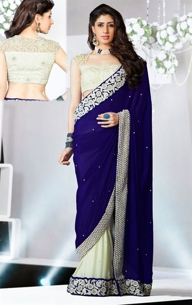Picture of Magnificent Ivory and Royal Blue Party Wear Saree