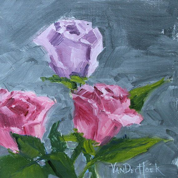 Rising Above - A Study - Original Impressionist Style Oil Painting of Roses - Rose Painting - Flower Painting - Still Life Oil Painting