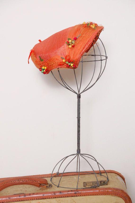 Vintage 50s orange fascinator / berry hat / veiled fascinator / 50s spring hat