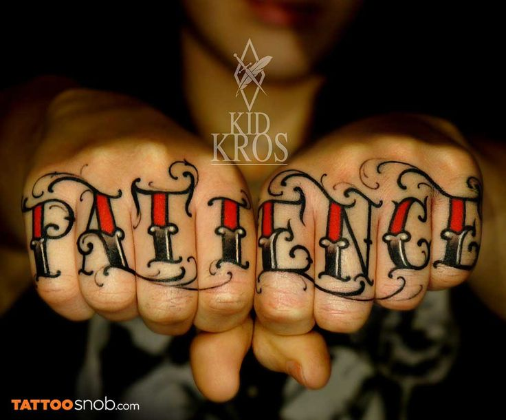 Patience i like the lettering for a knuckle tattoo ink for Letter tattoos on hand