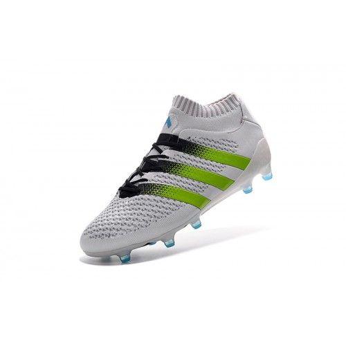 Adidas ACE Fotbollsskor - Billig Adidas ACE 16.1 Primeknit FG AG Vit Gron Fotbollsskor