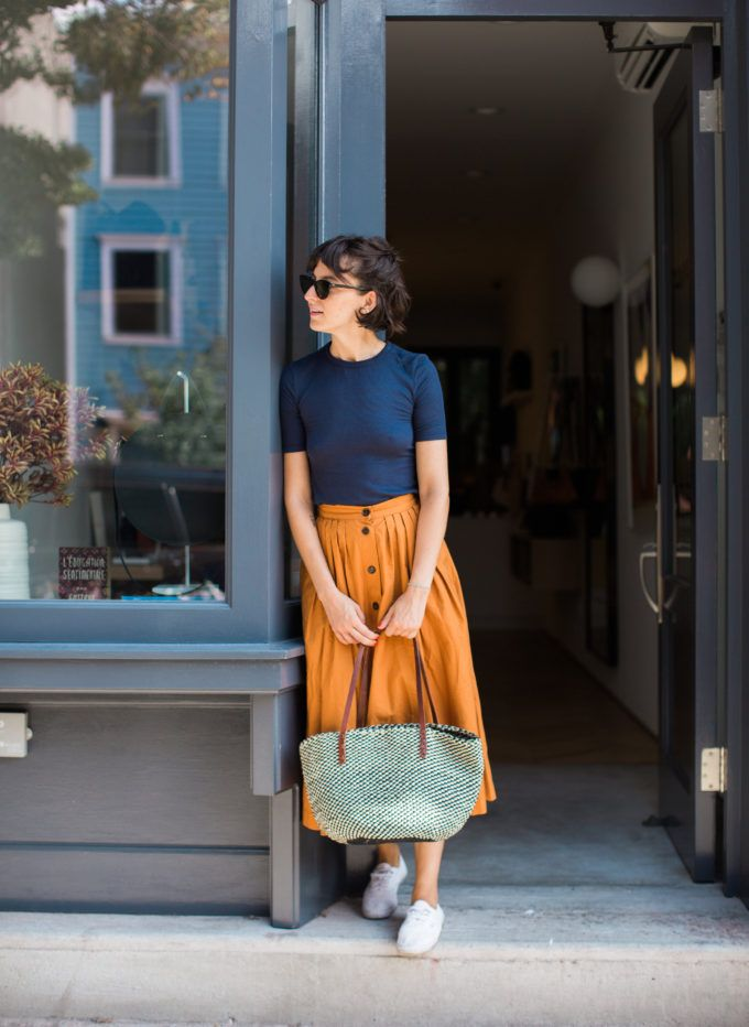 What an outfit, love the midi skirt and the color combo! | Sarah Ali Pacha | A Cup of Jo