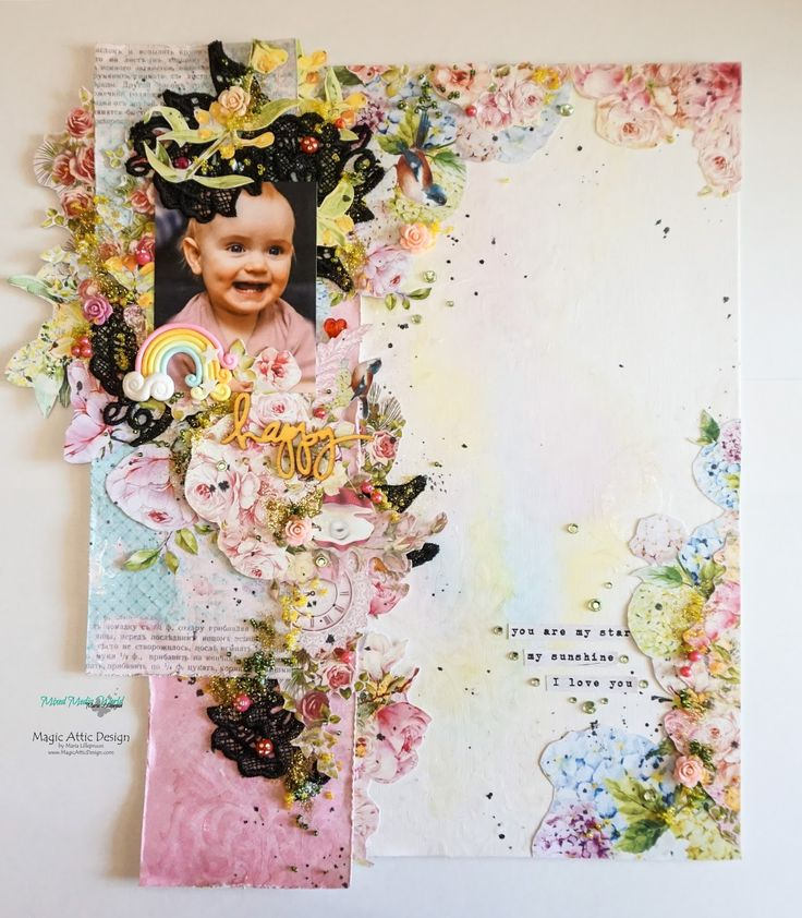 A layout by Maria Lillepruun on watercolor background using lots of Scrapberry´s patterned paper