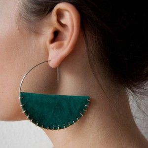 Items similar to cradle earrings / hoops - turquoise - 925 sterling silver and 100% real leather on Etsy