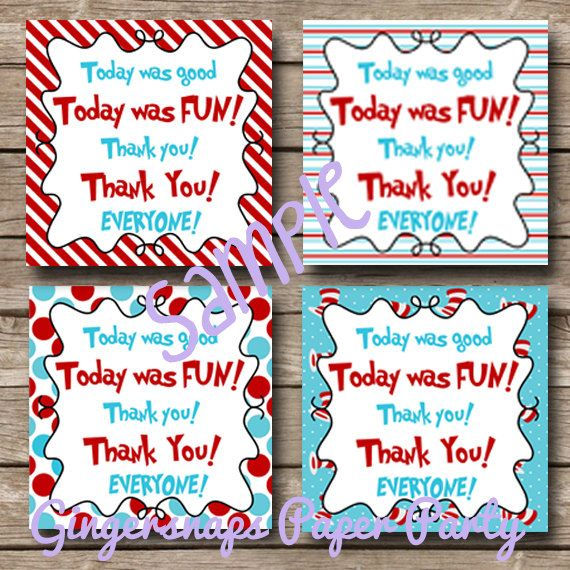 Dr Seuss Party Favor Tags - INSTANT DOWNLOAD -Cat in the Hat Birthday - Party Printable