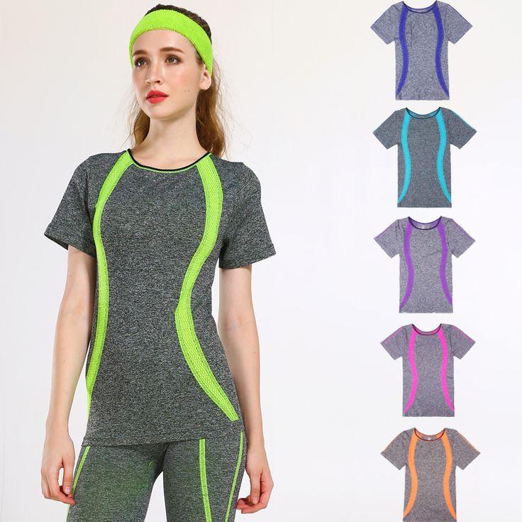 Nieuwe stijl yoga gym compressie panty vrouwen sport t-shirts droog quick running korte mouw fitness vrouwen kleding tees tops