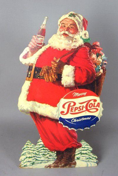 pepsi christmas displays | 342: Early Pepsi-Cola Christmas Stand Up Display : Lot 342