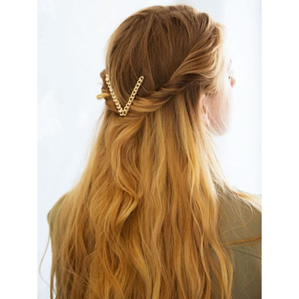 Gold Chain V Shape Hair Clip ($9.16) ❤ liked on Polyvore featuring accessories, hair accessories, hair, people, barrette hair clip, hair clip accessories, gold hair clips, gold hair accessories and hair chain accessories
