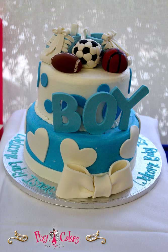 baby shower cake boy blue sports soccer football basketball shoes booties hearts bow