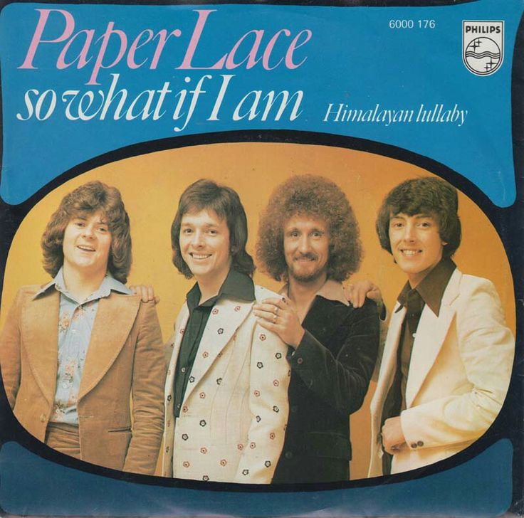 """PAPERLACE """"So What if I am"""" b/w """"Hymalayan Lullaby"""" 1975 Phillips (Netherlands). Bootstompin' Glam anthem w/killer Proto Punk lyrics over an ALEX HARVEY-esque riff w/plenty of MOOG! I wish they made an album during these sessions cos' they went from watered down RACEY-ROLLERS type Pop to anthemic BOOTBOY Glitter Rock.. Maybe just trying to cash in on all the young dudes digging  SLADE & HEAVY METAL KIDS.. This sleeve  isn't as """"tuff"""" as the German pic sleeve.. Either way it's a $2 Junkshop…"""