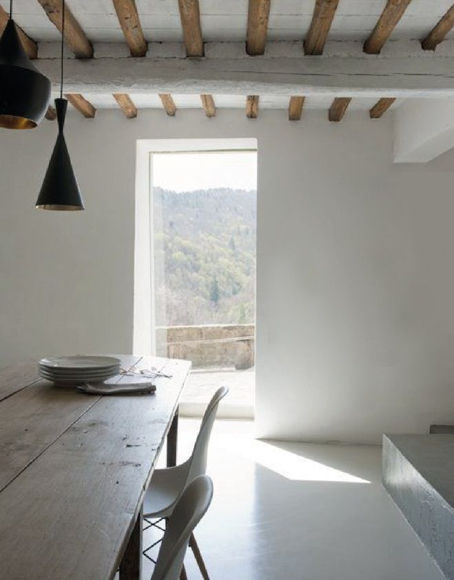 Rustic and minimal dining room