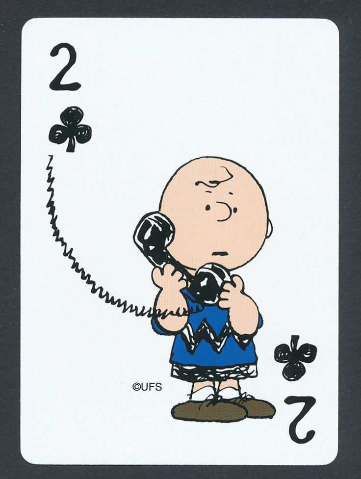 Charlie Brown Peanuts playing card single swap two of clubs - 1 card
