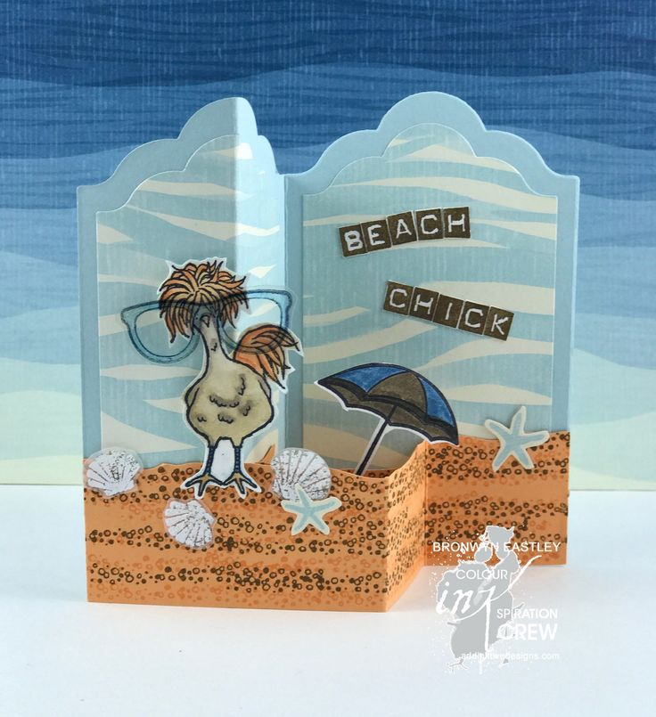 Hey Chick, Day at the Beach, Live Love Grow, Seaside Shore, Colour INKspiration, Labels Z-Fold, Bronwyn Eastley, #addinktivedesigns