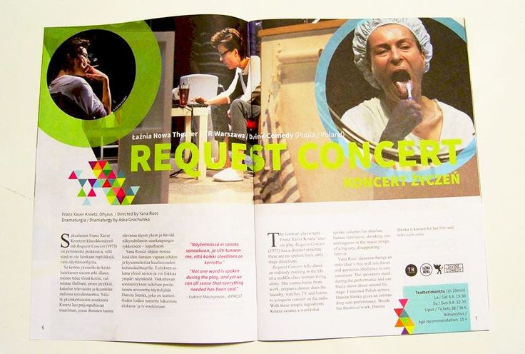 And here is what Request Concert website looks like in the festival programme. 'Request Concert tells about loneliness and the existential freedom to choose one's own destiny,' the organisers inform. The performance was produced by Łaźnia Nowa Theatre in Cracow, TR Warszawa and International Divine Comedy Theatre Festival.