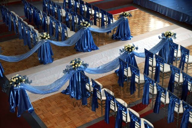 Cornflower Blue Wedding Decorations | Finishing off the ceremony we laid down an aisle runner, and draped ...