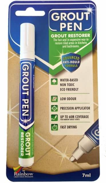 Refresh or change the colour of 40 linear metres of 5mm narrow grout lines with these non-toxic, anti-mould, bullet nib 5mm grout pens.